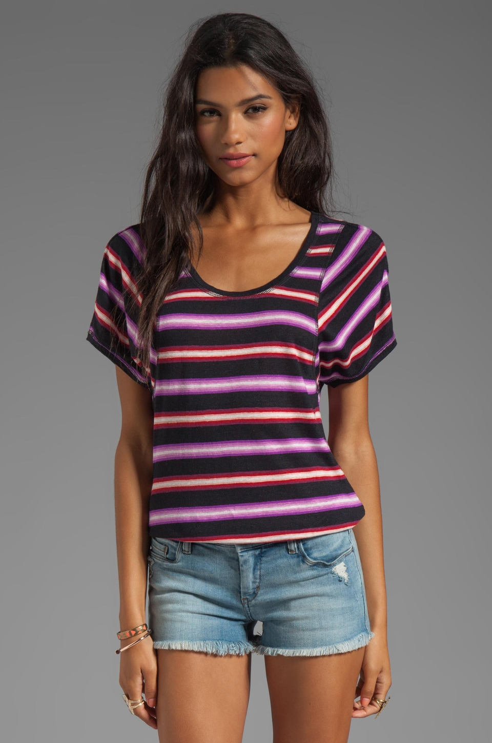 Marc by Marc Jacobs Light Stripe Jersey Short Sleeve Top in General Navy Multi