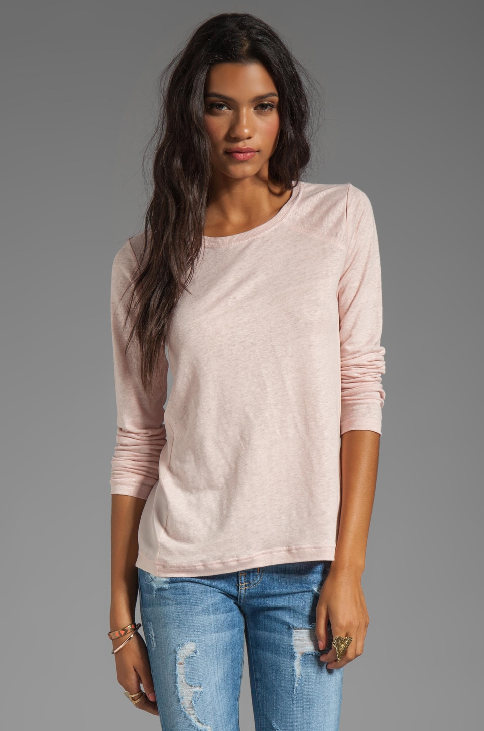 Marc by Marc Jacobs Martha Jersey Long Sleeve Top in Tile Pink