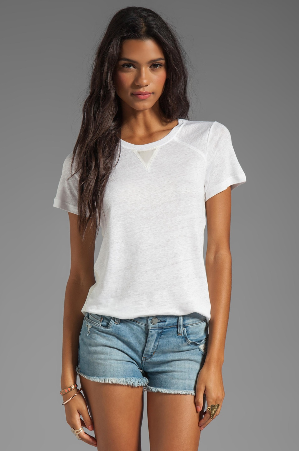 Marc by Marc Jacobs Martha Jersey Short Sleeve Top in Wicken White