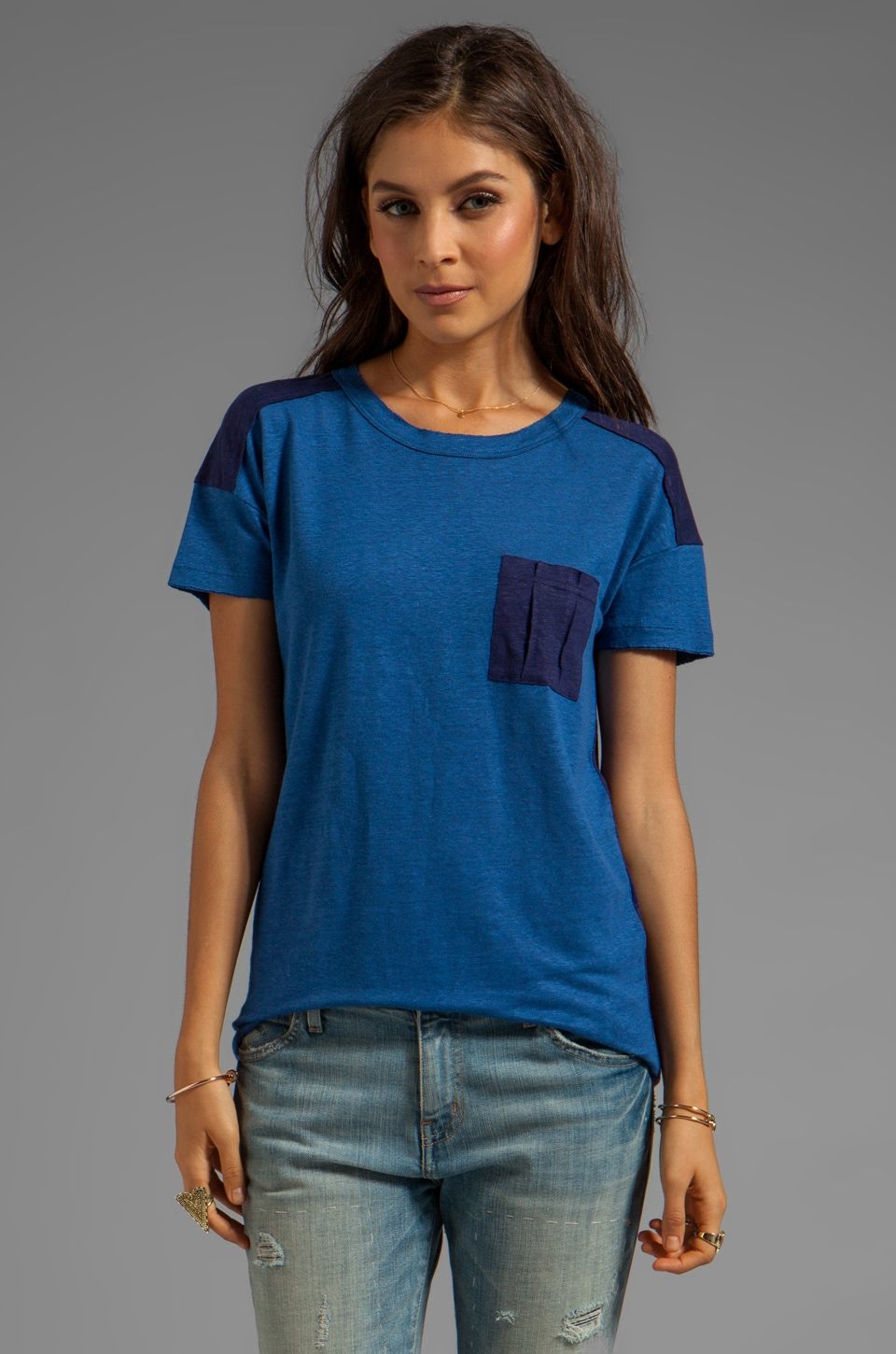 Marc by Marc Jacobs Kip Linen Jersey Tee in Skipper Blue Multi