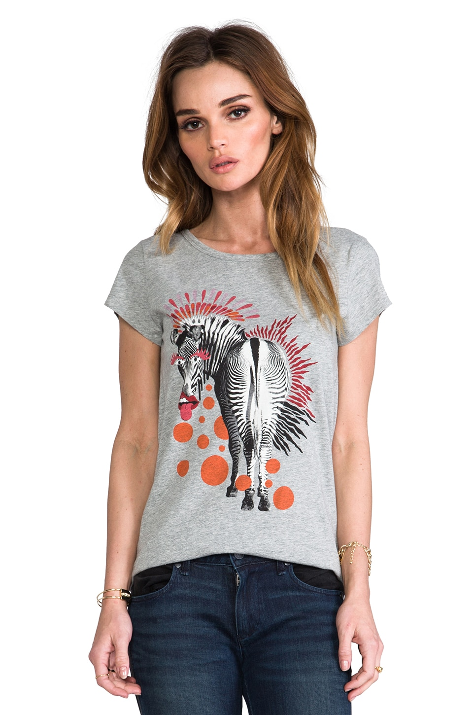 Marc by Marc Jacobs Zebra Printed Tee in Light Grey Melange