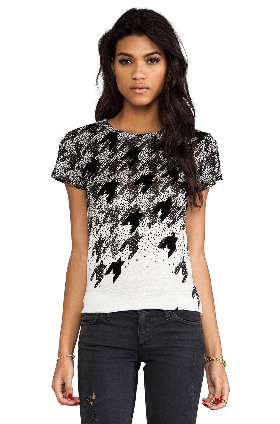 Marc by Marc Jacobs Flocked Houndstooth Tee in Antique White