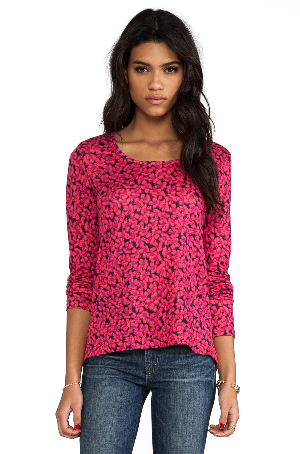 Marc by Marc Jacobs Bianca Mix Top in Neon Pink Multi