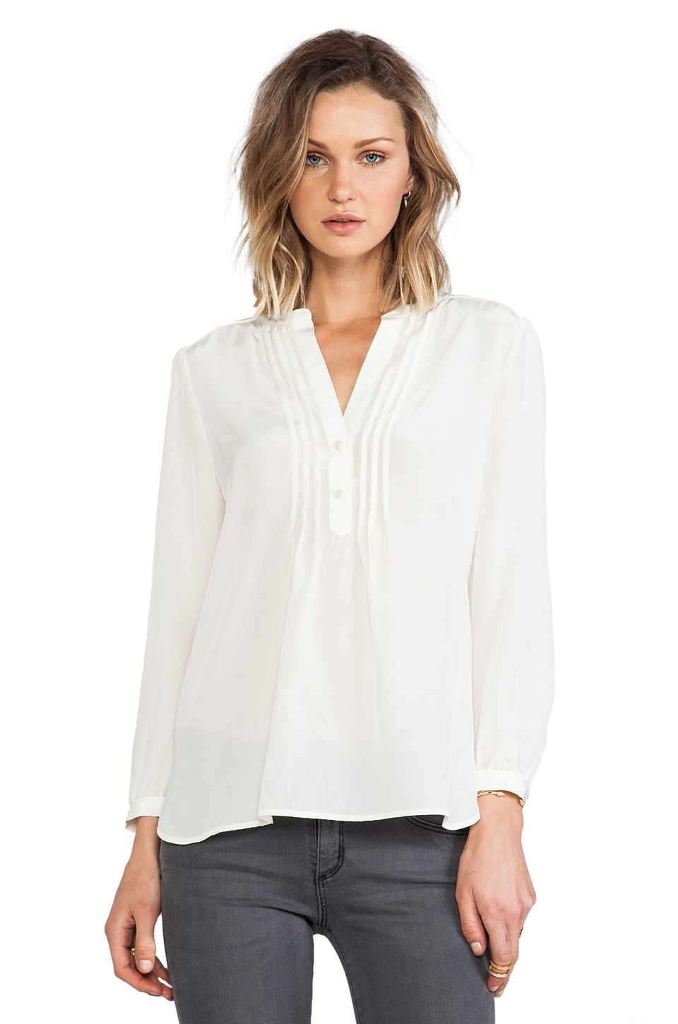 Marc by Marc Jacobs Frances Silk Blouse in Antique White
