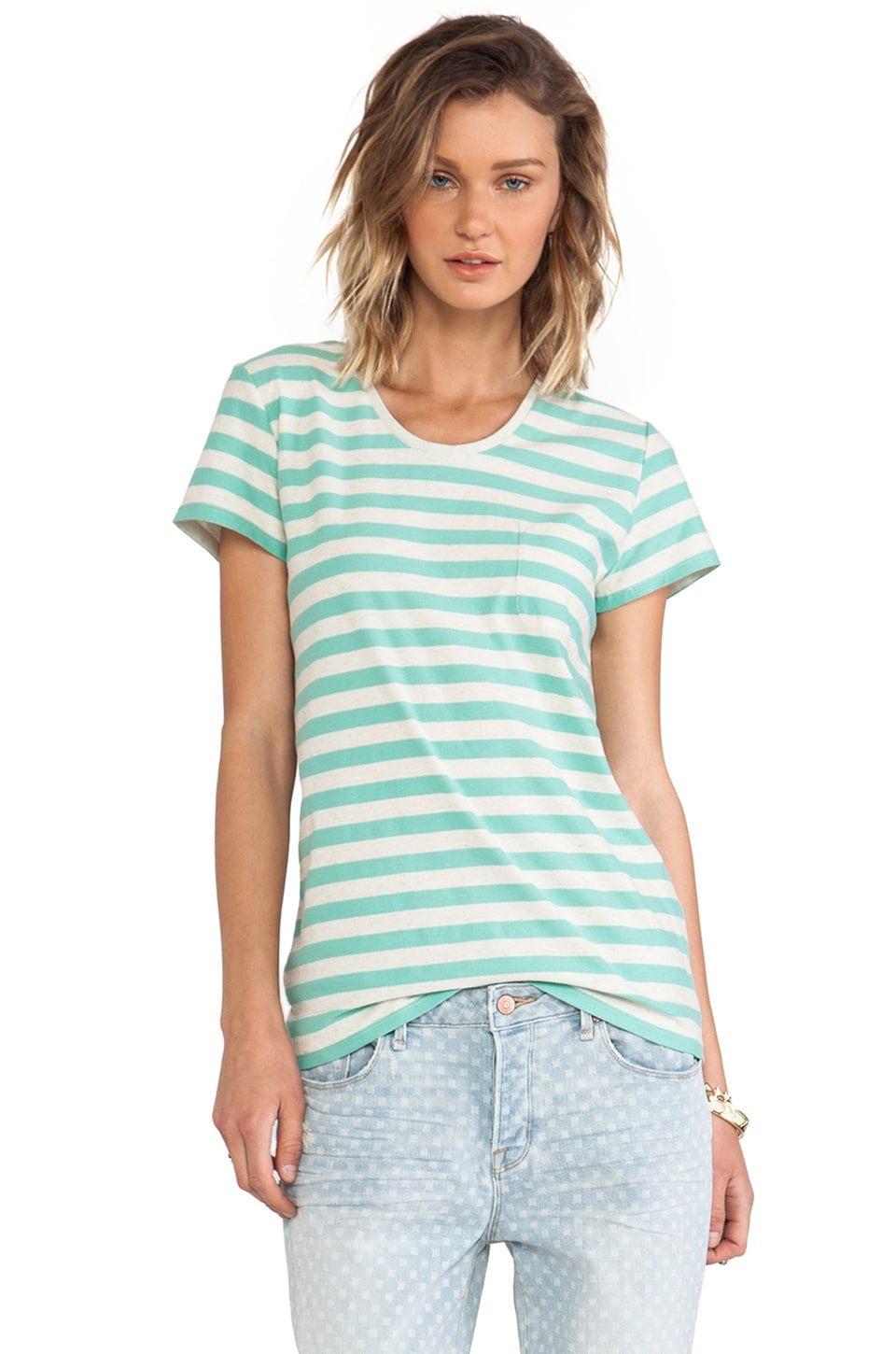 Marc by Marc Jacobs Pam Stripe Tee Multi in Dusty Jade Green