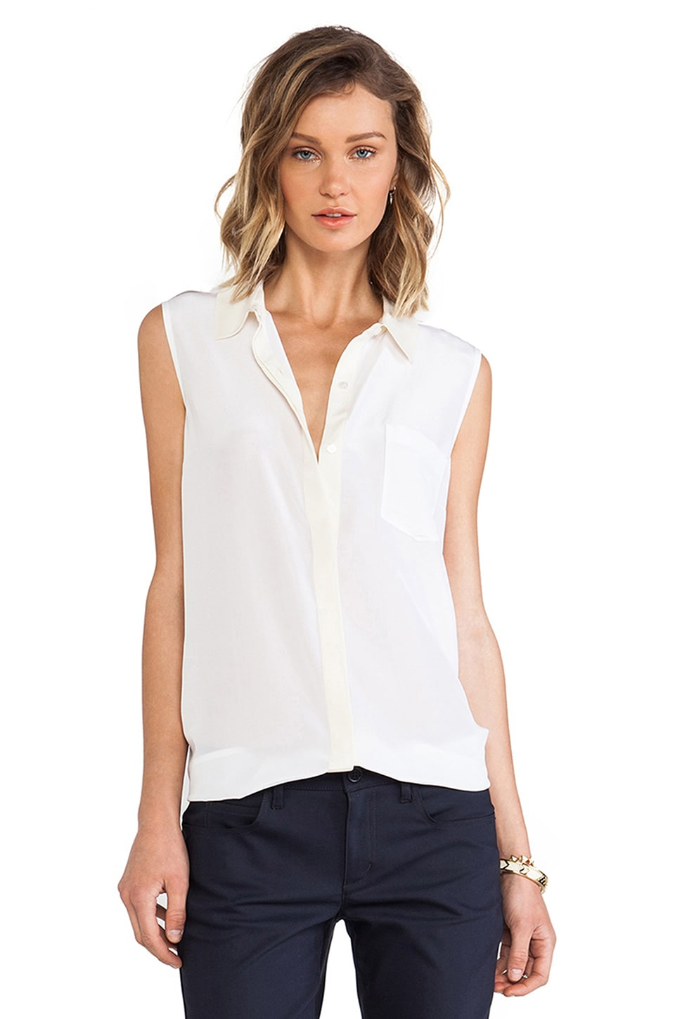 Marc by Marc Jacobs Frances Button Down Tank in White Multi