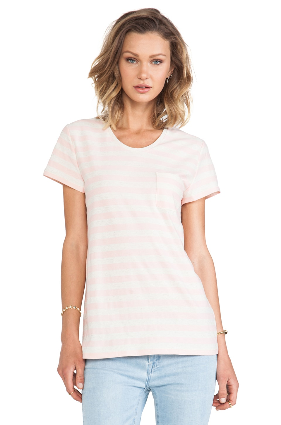 Marc by Marc Jacobs Pam Stripe Tee in Adobe Pink Multi