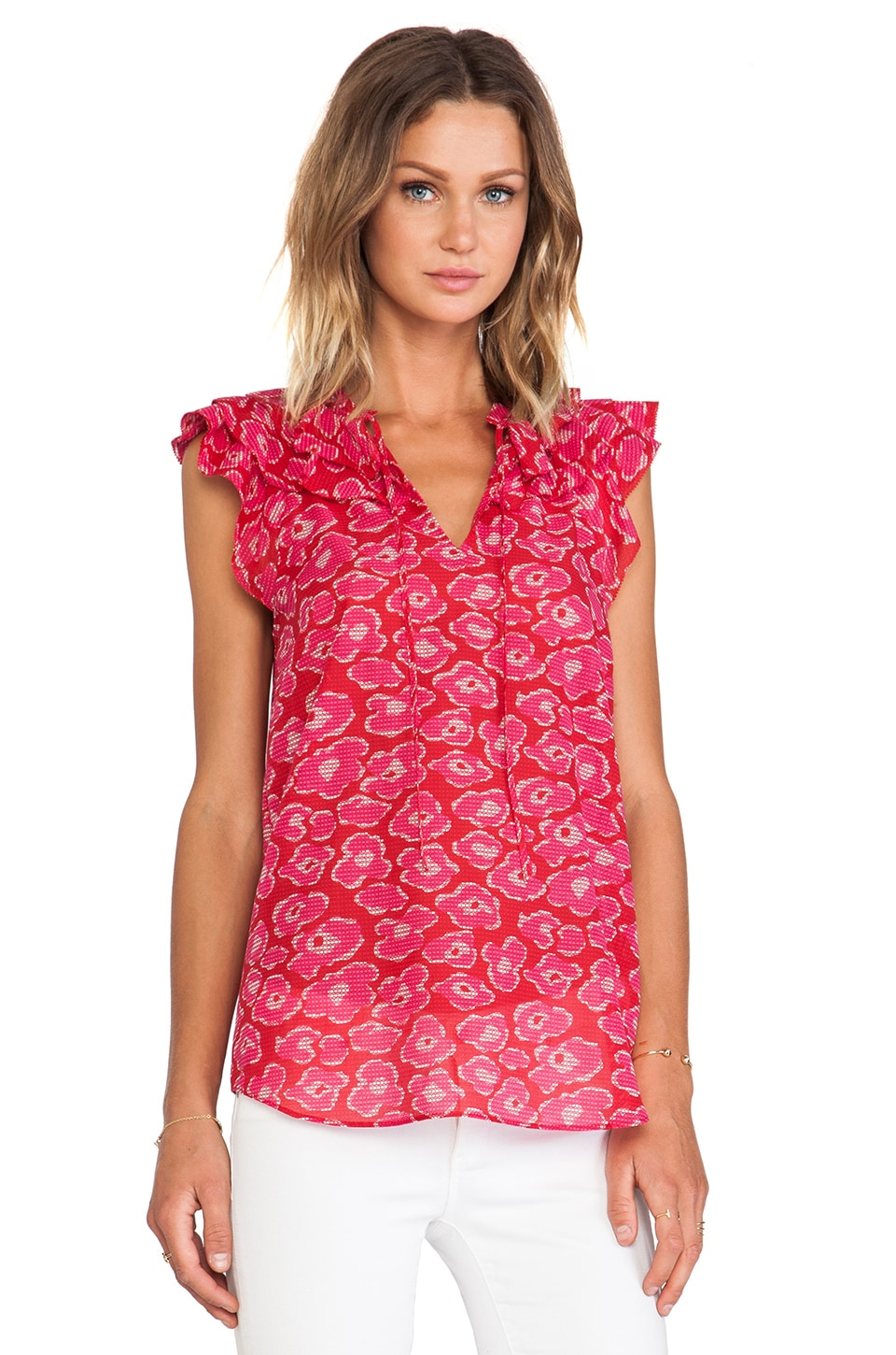 Marc by Marc Jacobs Cas Print Top in Pompeii Red Multi