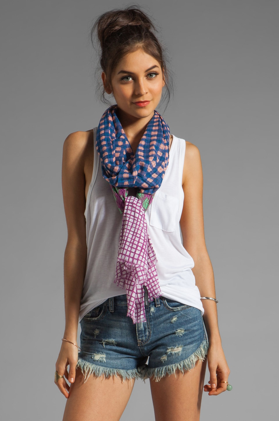 Marc by Marc Jacobs Printed Mix Check Scarf in Apricot Rose Multi