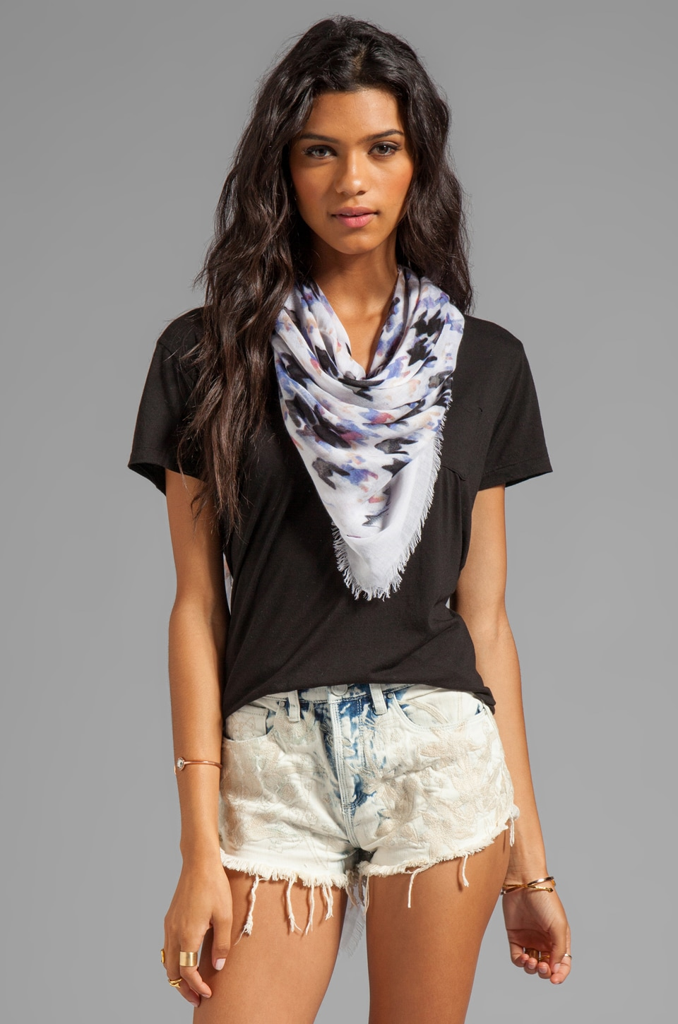 Marc by Marc Jacobs Shooting Houndstooth Scarf in White Multi