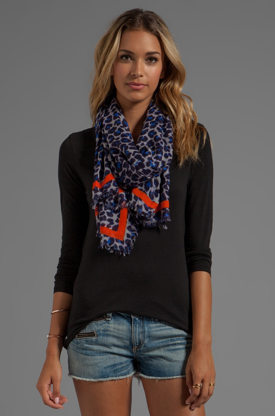 Marc by Marc Jacobs Leonora Leopard Scarf in Blue Multi