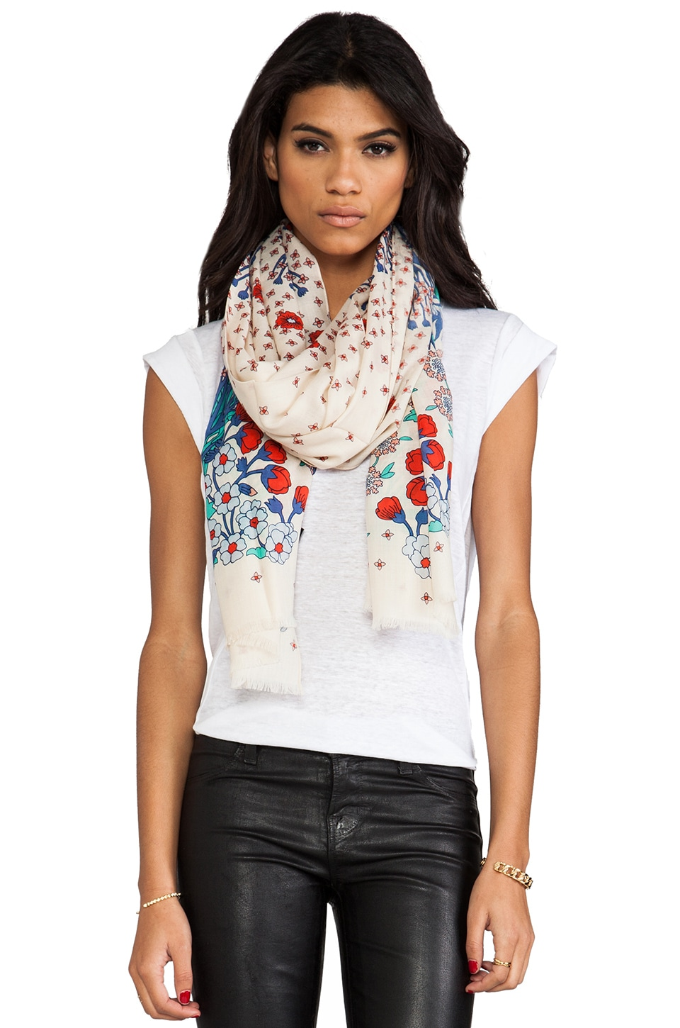 Marc by Marc Jacobs Madeline Botanical Print Scarf in Pure Cream Multi