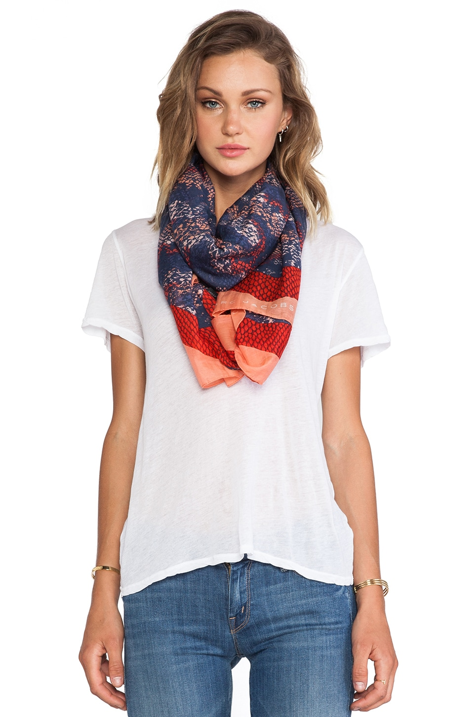 Marc by Marc Jacobs Spray Paint Snake Print Scarf in Rose Bush Multi