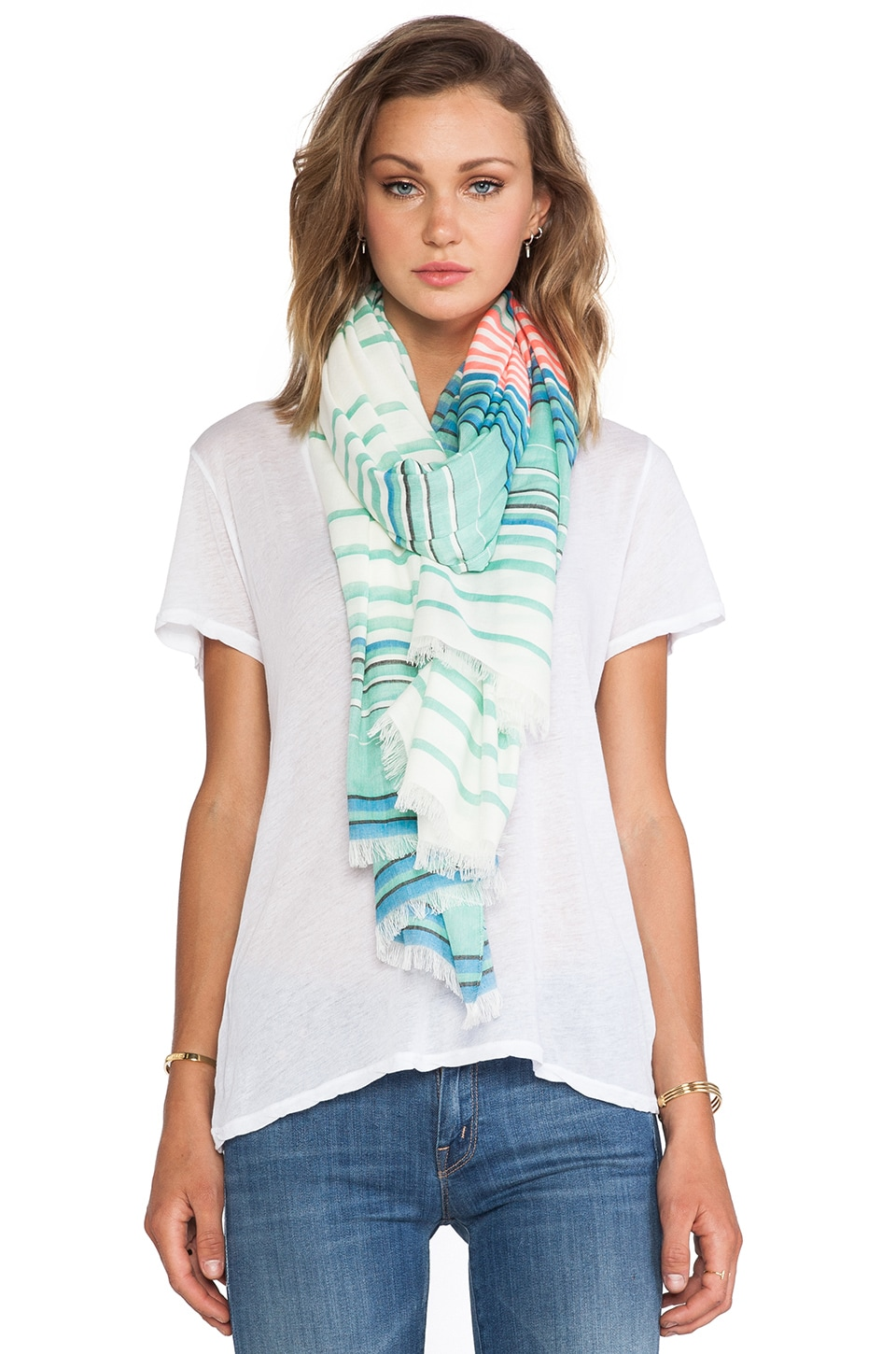Marc by Marc Jacobs Paradise Stripe Yarn Dye Scarf in Aqua Lagoon Multi