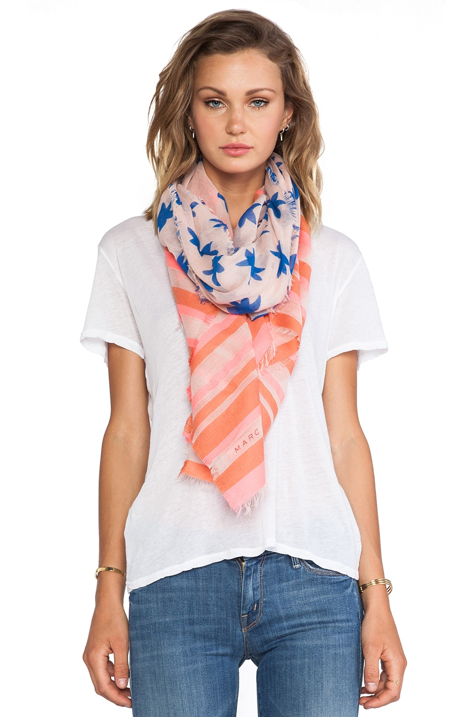 Marc by Marc Jacobs Palm Tree and Stripe Yarn Dye Scarf in Ginger Rose Multi
