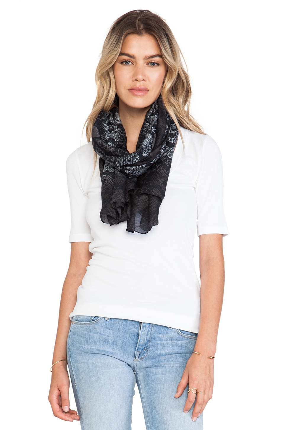 Marc by Marc Jacobs Heart Snake Print Scarf in Black Multi