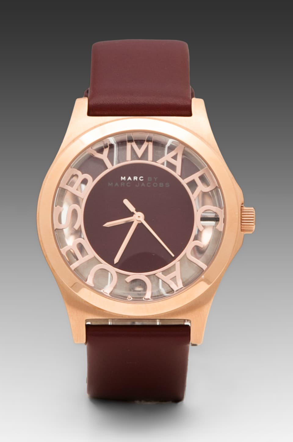 Marc by Marc Jacobs Henry Skeleton Watch in Oxblood/Rosegold