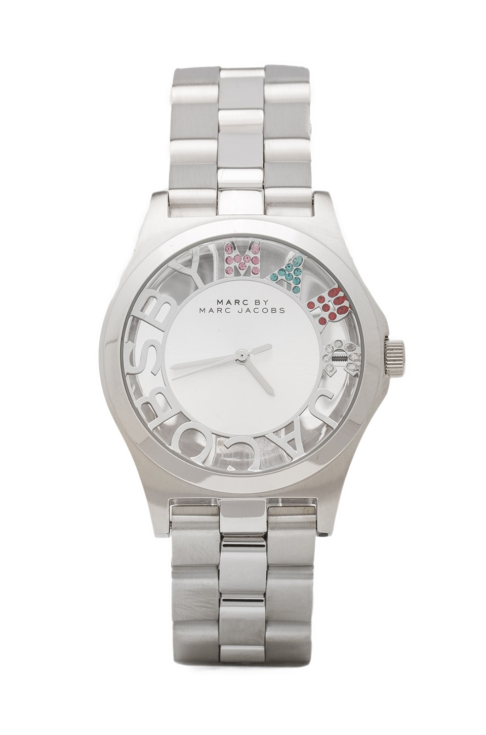 Marc by Marc Jacobs Clearly Crystal Henry Skeleton Glitz in Stainless Steel