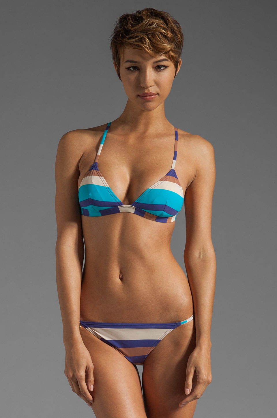 Marc by Marc Jacobs Vintage Stripe Triangle Bra in Violet Bloom