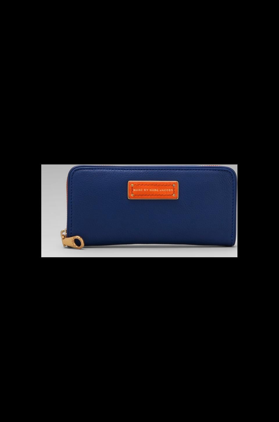 Marc by Marc Jacobs Too Hot to Handle Colorblocked Slim Zip Around Wallet in Bauhaus Blue Multi