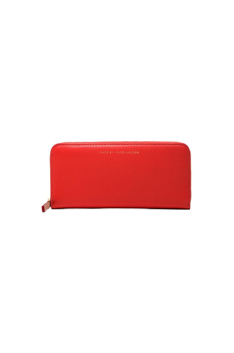 Marc by Marc Jacobs Sophisticato Slim Zip Around Wallet in Vibrant Orange Multi