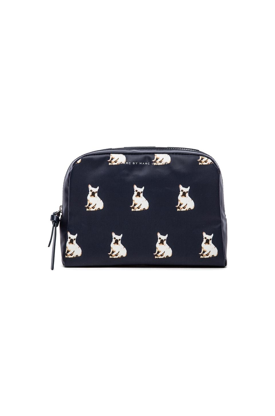 Marc by Marc Jacobs Pets Coated Canvas Large Cosmetic Pouch in Gettysburg Blue Multi