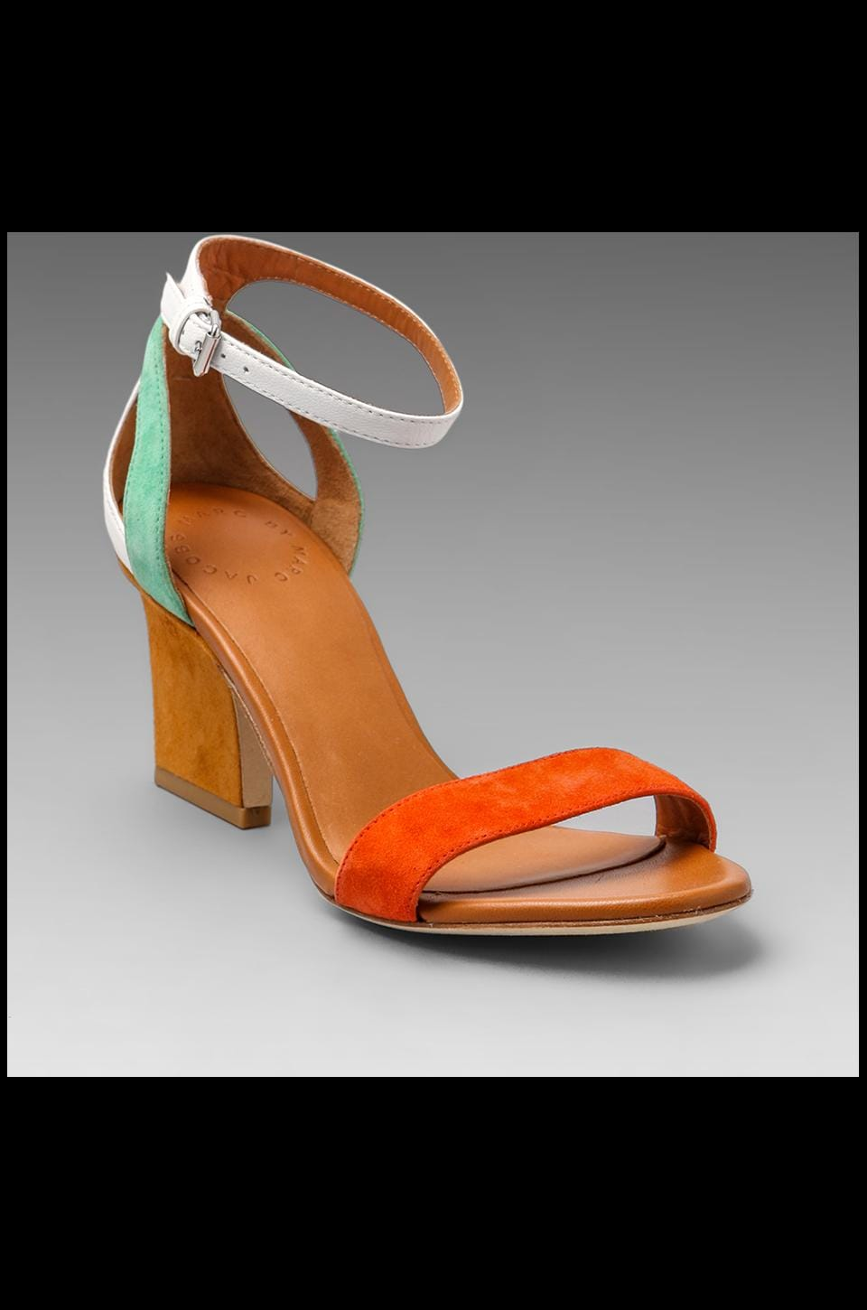 Marc by Marc Jacobs Suede Color Weave Heel Sandal in Orange/Tan/White/Green