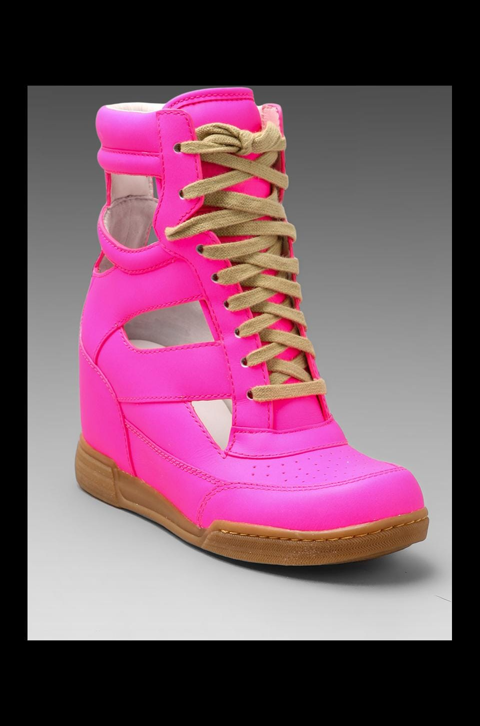 Marc by Marc Jacobs Neon Cut Out Wedge Sneaker in Pink