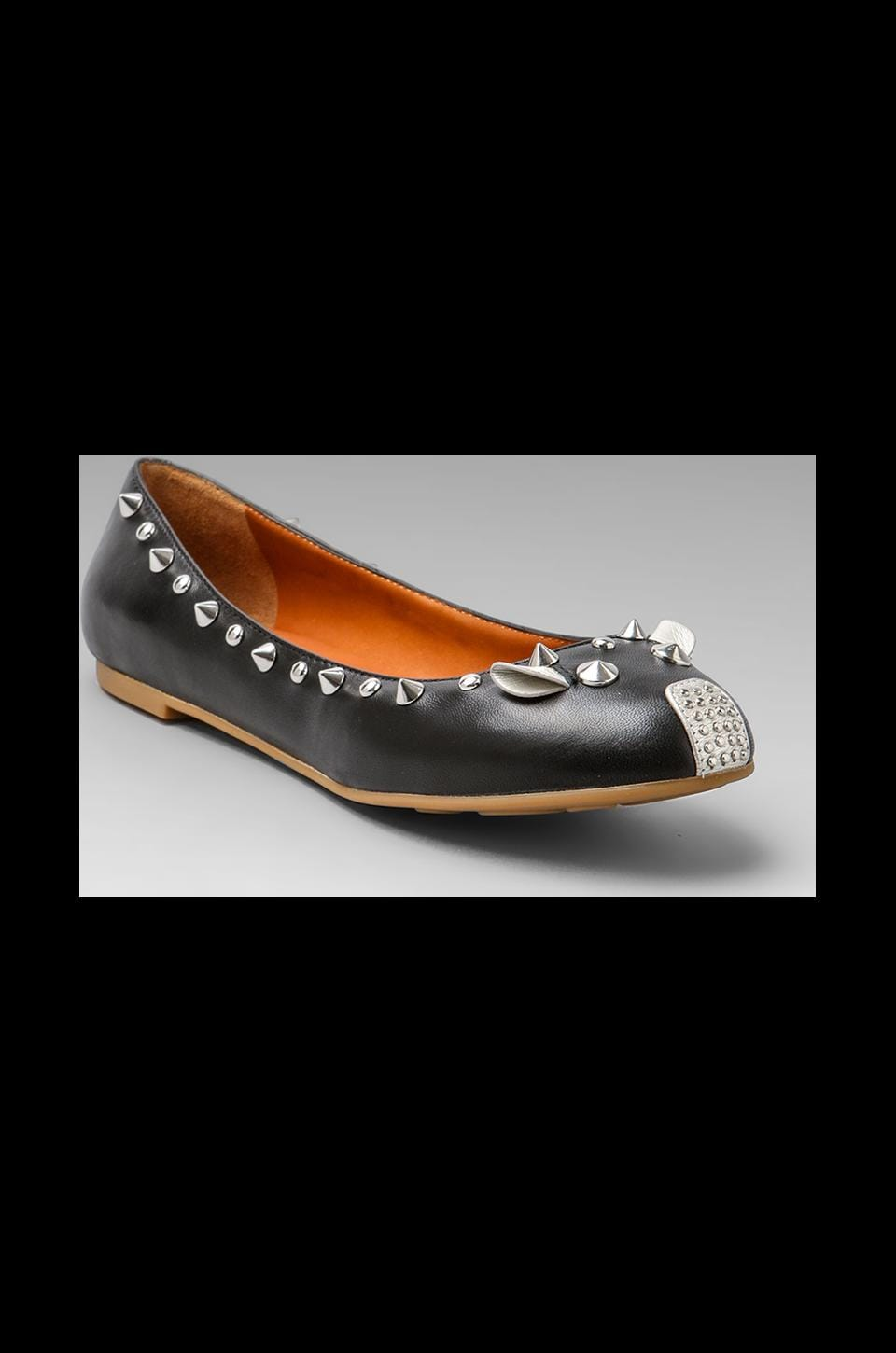 Marc by Marc Jacobs Metallic Mouse Ballerina Flat in Black and Silver