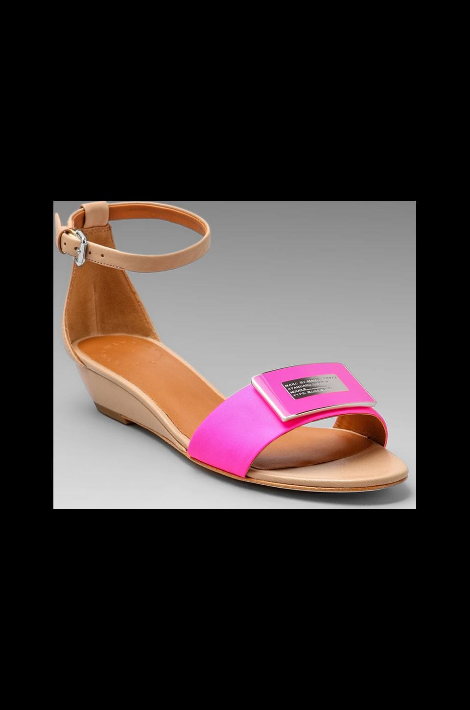 Marc by Marc Jacobs Neon Logo Mini Wedge Sandal in Nude and Fluor Pink