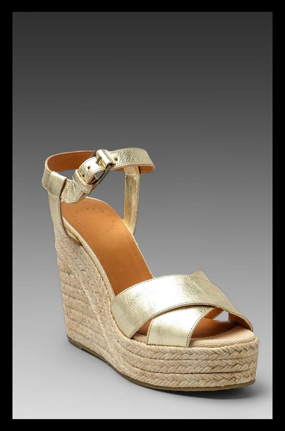 Marc by Marc Jacobs Metallic Espadrille Wedge Sandal in Gold