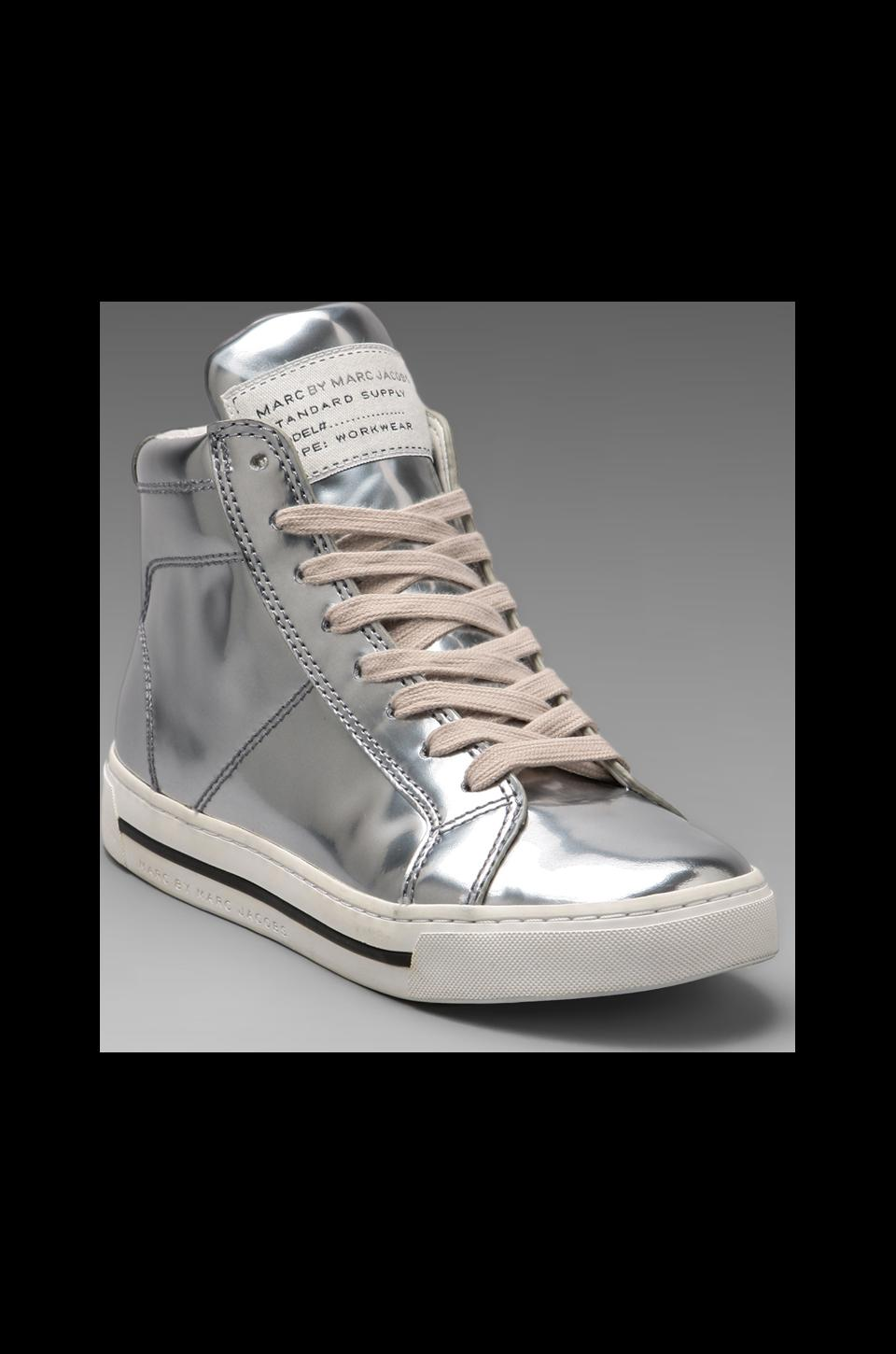 Marc by Marc Jacobs Mirror Reflective High Top Sneaker in Silver