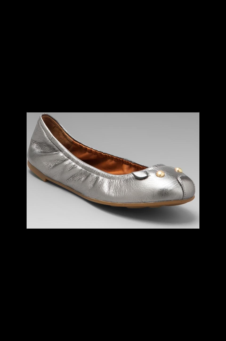 Marc by Marc Jacobs Mouse Metallic Soft Ballerina Flat in Silver