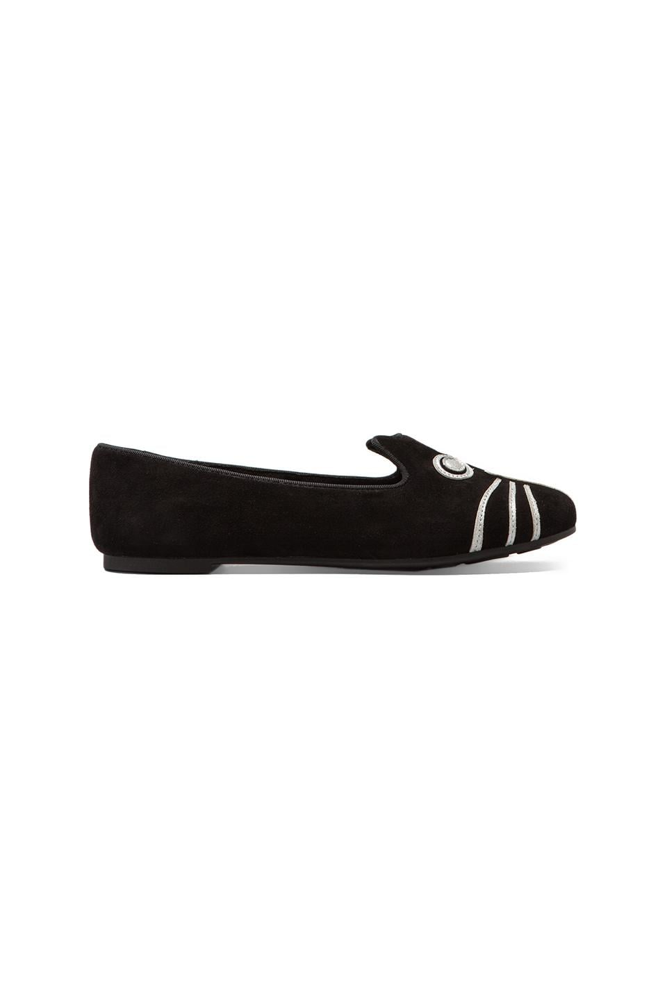 Marc by Marc Jacobs Rue Suede Metallic Loafer in Black/Silver