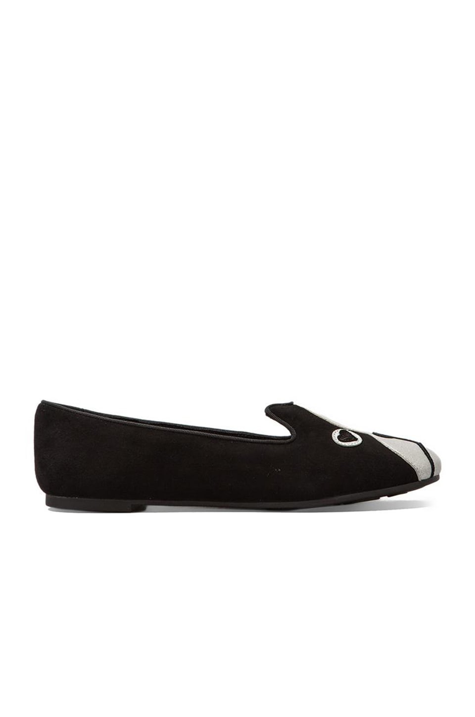 Marc by Marc Jacobs Shorty Suede Metallic Loafer in Black/Silver