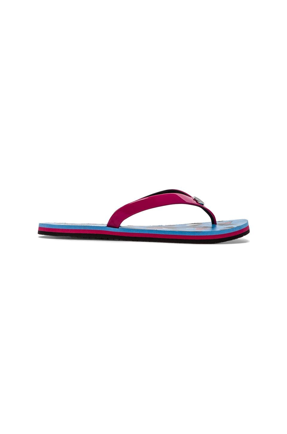 Marc by Marc Jacobs Rubber Flip Flop in Blue Multi & Raspberry