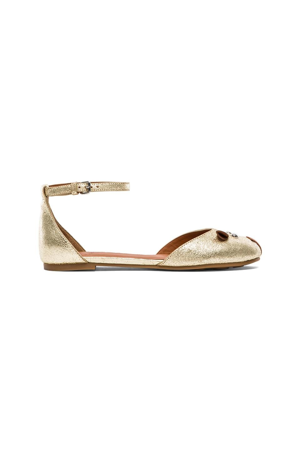 Marc by Marc Jacobs Mouse Ballerina Flat in Gold