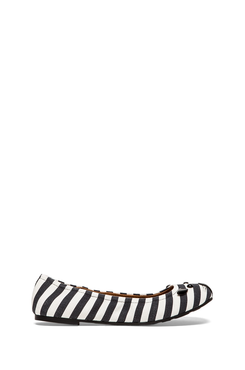 Marc by Marc Jacobs Striped Canvas Mouse Ballerina Flat in Black & White