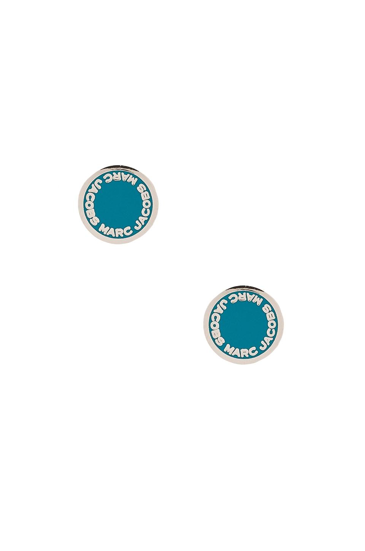 Marc Jacobs Enamel Logo Disc Studs in Blue