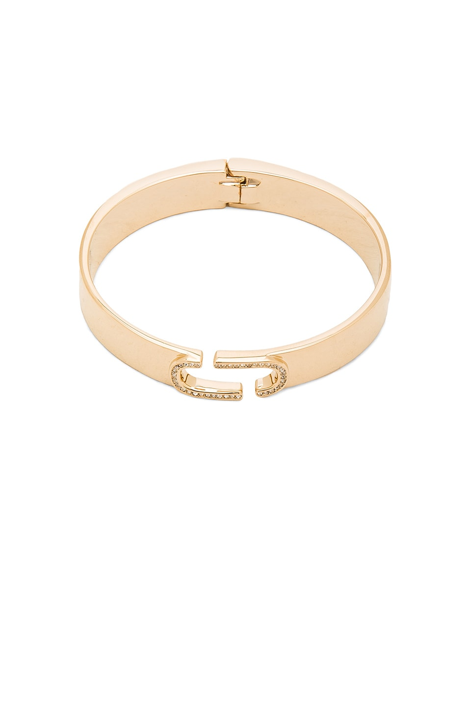 Marc Jacobs Icon Crystal Hinge Cuff in Crystal & Gold