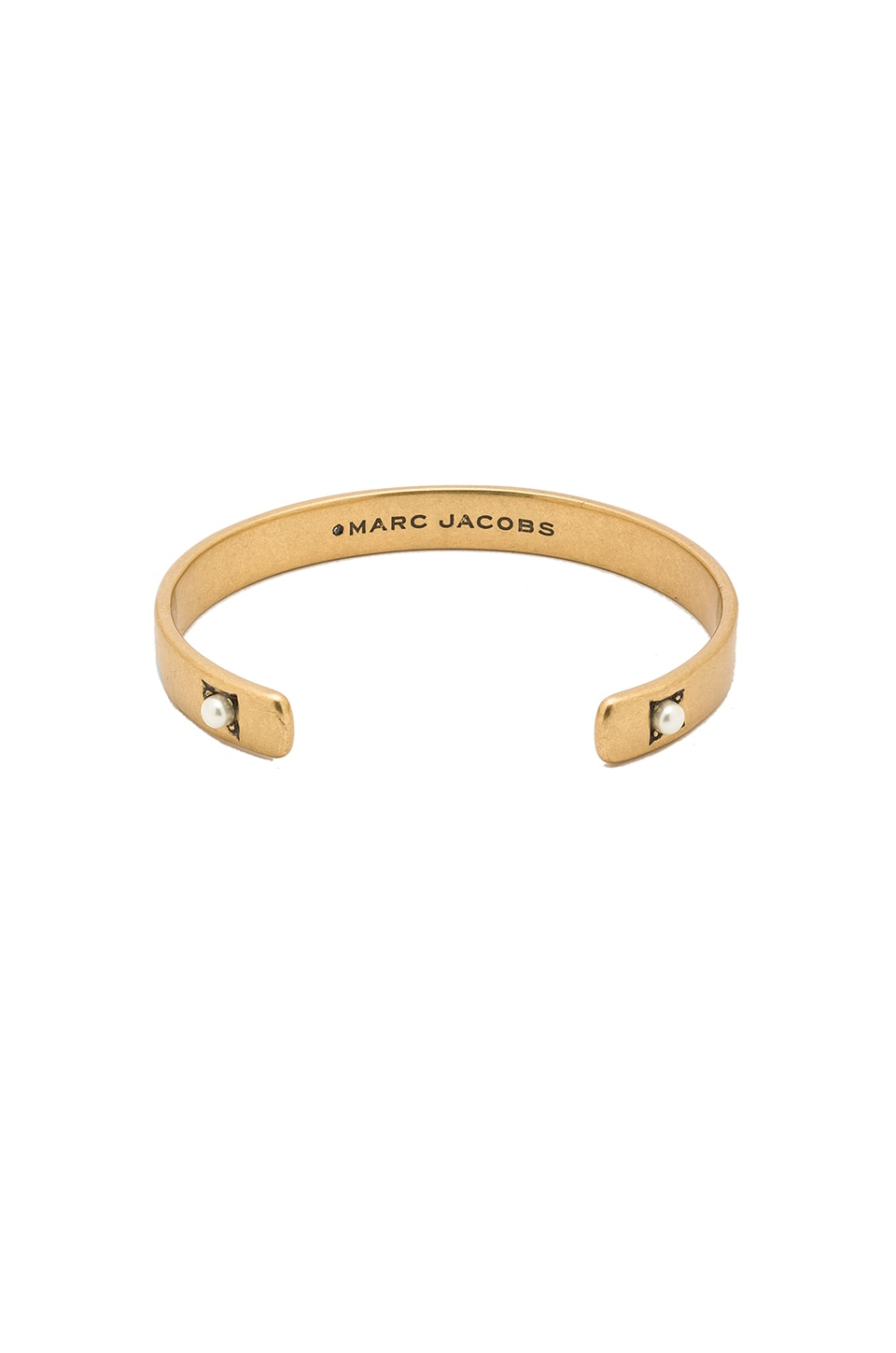 Marc Jacobs Dotted Pearl Cuff in Cream & Antique Gold