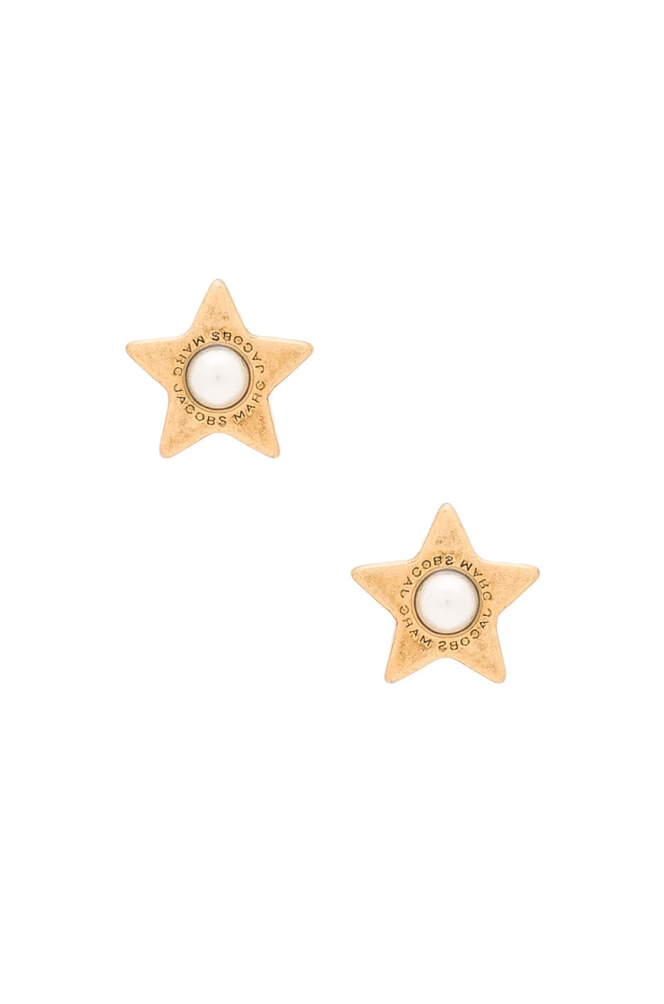 c43c536a9178 Marc Jacobs Charms Flat Pearl Star Stud Earrings in Cream   Antique Gold