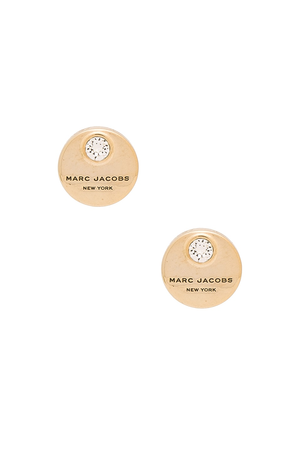 Marc Jacobs MJ Coin Stud Earrings in Crystal & Gold