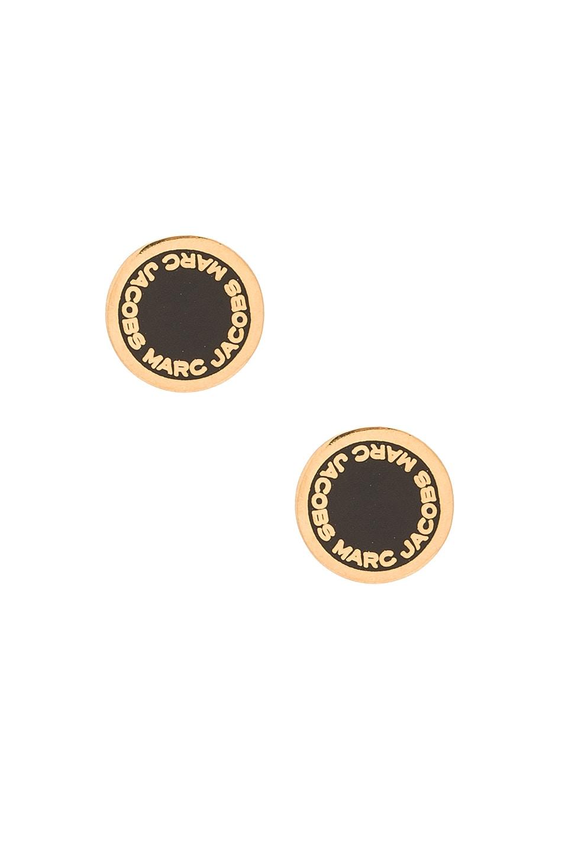 64bbbe00b Marc Jacobs Enamel Logo Disc Stud Earrings in Black & Oro | REVOLVE