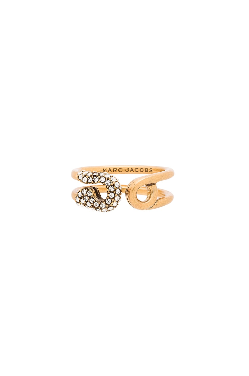 Marc Jacobs Charms Pave Safety Ring in Crystal & Antique Gold