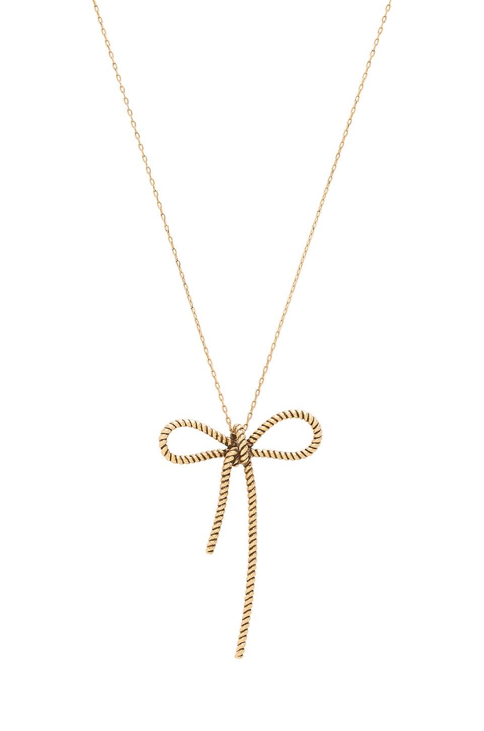 Marc Jacobs Rope Bow Pendant Necklace in Antique Gold