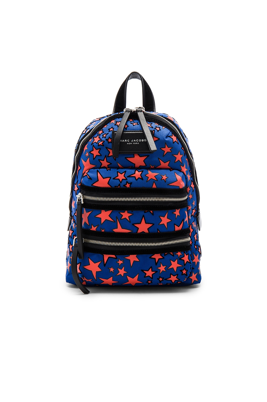 Marc Jacobs Flocked Star Printed Biker Mini Backpack in Web Blue Multi