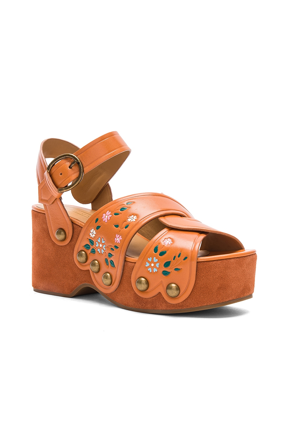 MARC JACOBS Wildflower Leather Wedges