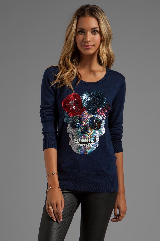 Markus Lupfer Flower Skull Sequin Sweater in Navy