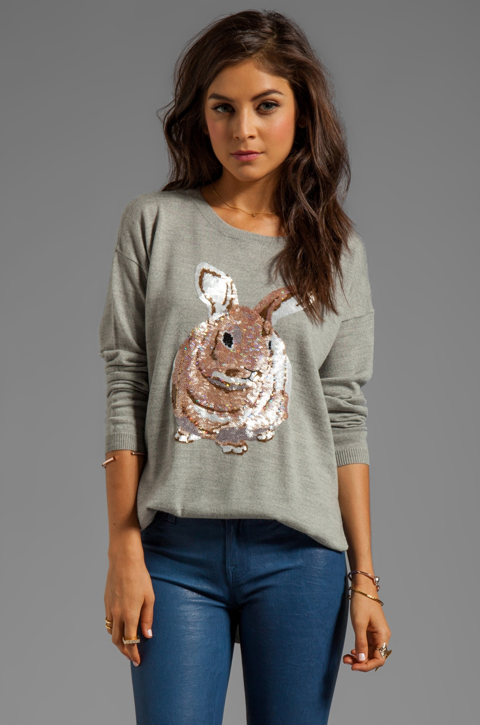 Markus Lupfer Hare Sequin Sweater in Light Grey